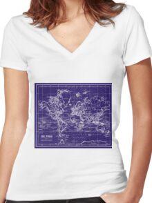 World Map (1899) Blue & White Women's Fitted V-Neck T-Shirt