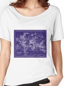 World Map (1899) Blue & White Women's Relaxed Fit T-Shirt