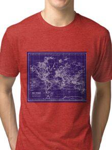 World Map (1899) Blue & White Tri-blend T-Shirt