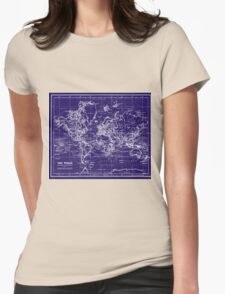 World Map (1899) Blue & White Womens Fitted T-Shirt
