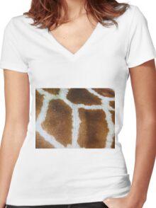 Giraffe fur   Women's Fitted V-Neck T-Shirt
