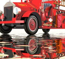 Antique Fire Engine with reflections Sticker