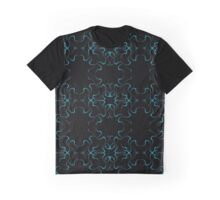 Blue on Black Symmetry Graphic T-Shirt