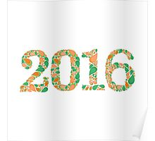 Happy New year 2016 isolated on white background Poster