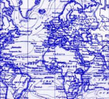 World Map (1899) White & Blue  Sticker