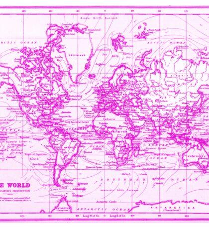 World Map (1899) White & Pink Sticker