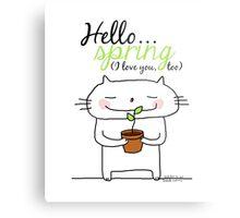 Hello spring !! (I love you, too) / cat doodles Metal Print