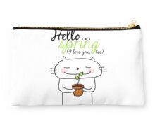 Hello spring !! (I love you, too) / cat doodles Studio Pouch