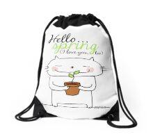 Hello spring !! (I love you, too) / cat doodles Drawstring Bag