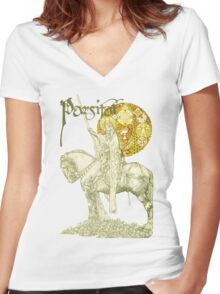 PERCEVAL LEGEND /QUEST OF HOLY GRAIL Yellow Green Fantasy Women's Fitted V-Neck T-Shirt