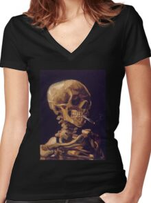 Vincent Van Gogh's 'Skull with a Burning Cigarette'  Women's Fitted V-Neck T-Shirt