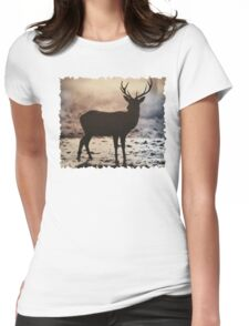 Stag in the mist Womens Fitted T-Shirt