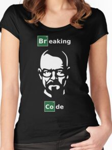 Breaking Code - White/Green on Black Parody Design for Programmers Women's Fitted Scoop T-Shirt