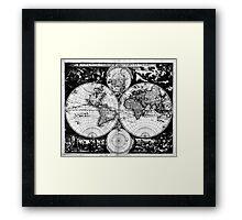Vintage Map of The World (1685) Black & White Framed Print