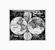 Vintage Map of The World (1685) Black & White Unisex T-Shirt