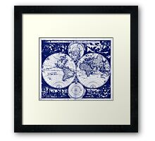 Vintage Map of The World (1685) Blue & White Framed Print