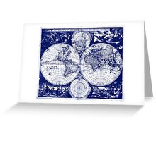 Vintage Map of The World (1685) Blue & White Greeting Card