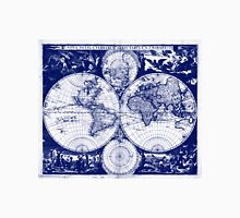 Vintage Map of The World (1685) Blue & White Unisex T-Shirt