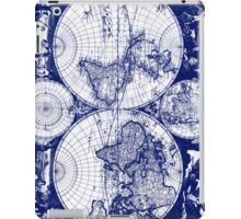 Vintage Map of The World (1685) Blue & White iPad Case/Skin