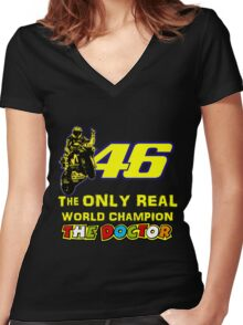 Valentino Rossi 46: The only real 2015 World Champion MotoGp Women's Fitted V-Neck T-Shirt