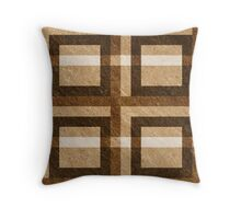 Brown Pixel Blocks Throw Pillow