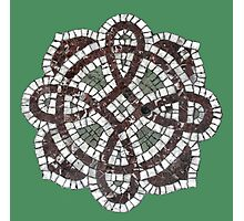 Victorian tile mosaic pattern on green Photographic Print