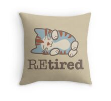 Retired Tired Sleeping Kitten Throw Pillow