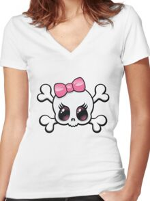 Cute Skull Women's Fitted V-Neck T-Shirt