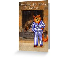 Happy Birthday Baby, cheeky ginger cat in pyjamas Greeting Card