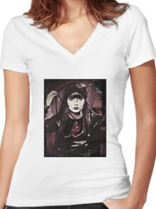 Louise Brooks in Purple Veils Women's Fitted V-Neck T-Shirt