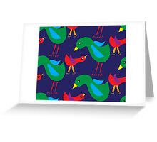 Pattern with birds on blue background Greeting Card