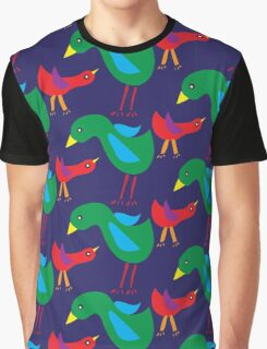 Pattern with birds on blue background Graphic T-Shirt