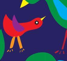 Pattern with birds on blue background Sticker