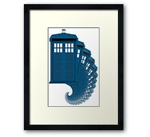 Tardis moving through time Framed Print
