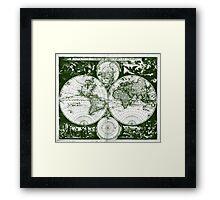 Vintage Map of The World (1685) Green & White  Framed Print