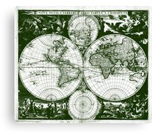 Vintage Map of The World (1685) Green & White  Canvas Print