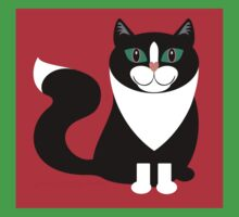 TUXEDO CAT ON RED BACKGROUND Kids Tee