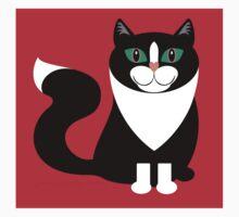 TUXEDO CAT ON RED BACKGROUND One Piece - Short Sleeve