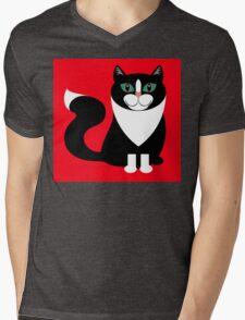 TUXEDO CAT ON RED BACKGROUND Mens V-Neck T-Shirt