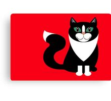 TUXEDO CAT ON RED BACKGROUND Canvas Print