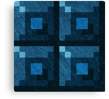 Blue Green Pixel Blocks Canvas Print