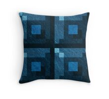 Blue Green Pixel Blocks Throw Pillow