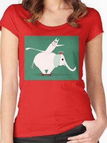 WHITE ELEPHANT & CAT ON GREEN Women's Fitted Scoop T-Shirt