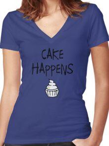 Cake Happens Women's Fitted V-Neck T-Shirt