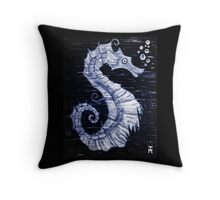 Mystical Horse of the Sea the Seahorse B/W Throw Pillow