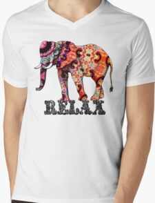 Relax Elephant Mens V-Neck T-Shirt