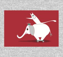 WHITE ELEPHANT & CAT ON RED One Piece - Long Sleeve