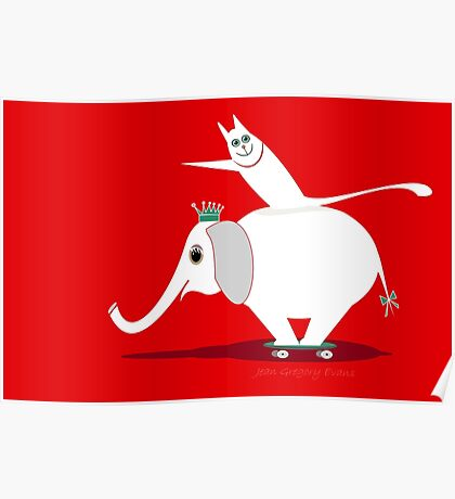 WHITE ELEPHANT & CAT ON RED Poster
