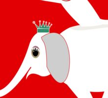 WHITE ELEPHANT & CAT ON RED Sticker