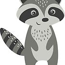 Cute Gray And White Raccoon Illustration by artonwear